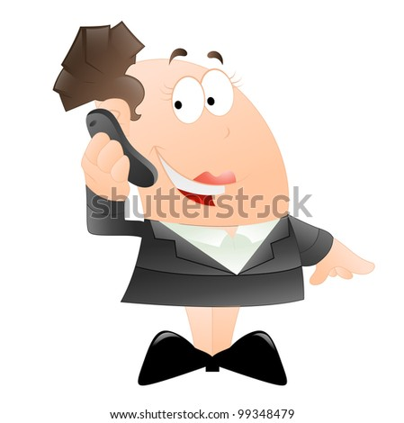 Happy Business Woman on Phone - stock vector