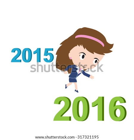 Happy business woman running from 2015 to 2016, new year success concept, vector