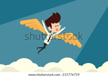 Happy businessman and freedom - stock vector