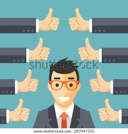 Happy businessman and many hands with thumbs up. Likes and positive feedback concept. Creative vector illustration  - stock vector