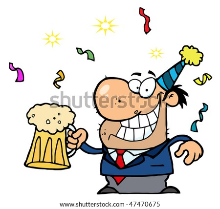 Happy Businessman Celebrating At A Party With Beer - stock vector