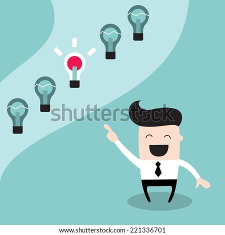 Happy businessman choosing the bright idea. Successful business concept, make right decisions. Vector illustration - stock vector
