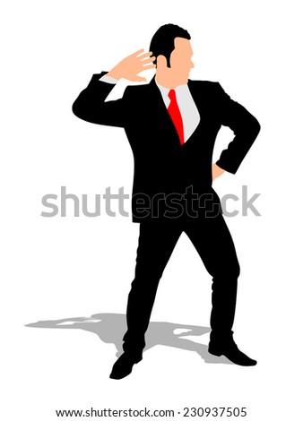 Happy businessman dancing, vector  - stock vector
