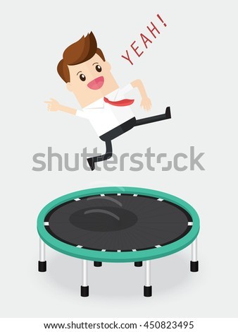 happy businessman jumping on trampoline fun and relaxing