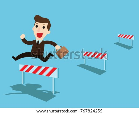 Happy Businessman jumping over ascending obstacles like hurdle race.