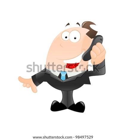 Happy Businessman on Phone - stock vector