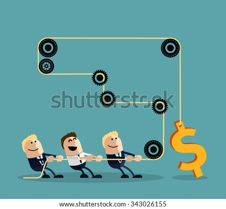 Happy businessman pulling rope with dollar through several intermediaries gears cartoon flat design style. Team, teamwork concept, working together, collaboration, business teamwork,  leadership - stock vector
