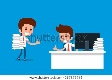 Happy businessman showing thumbs up. - stock vector