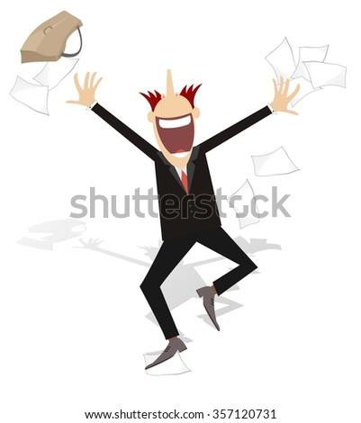 Happy businessman tossing papers, excited about something  - stock vector