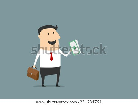 Happy businessman with briefcase and money in cartoon style for business design - stock vector