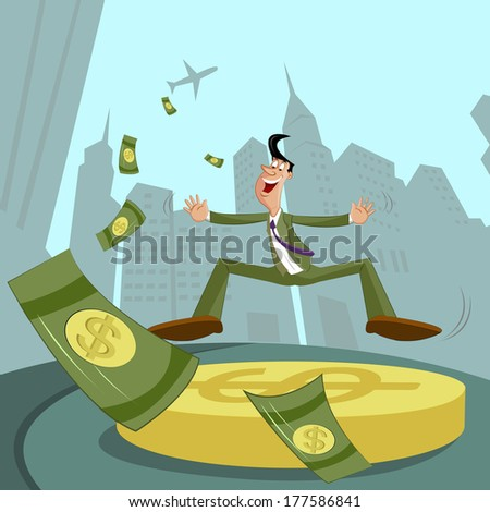 Happy businessman with dollar, Profit concept - stock vector
