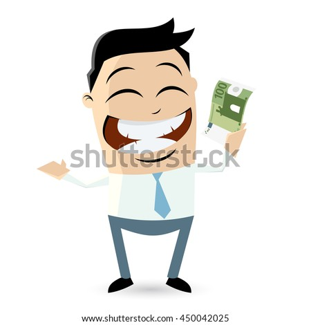 happy businessman with euro bill