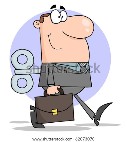 Happy Businessman With Wind-up Key In His Back - stock vector