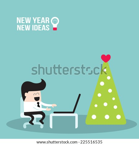 Happy businessman  working on laptop in Holiday season. Merry Christmas to business people. New Year - New Ideas, successful business concept. Vector illustration - stock vector