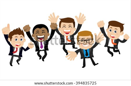 Happy businesspeople jumping celebrating success achievement - stock vector