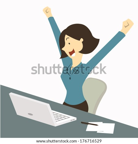 Happy businesswoman raising hands with clenched fists, sitting at her working desk with laptop and paper note, being excited and cheerful. Representing to getting a job or having a good news.    - stock vector