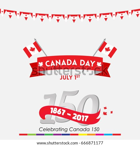 Happy canada day vector greetings illustration stock vector royalty happy canada day vector greetings illustration for banners and backgrounds 150 years of canadian independence m4hsunfo