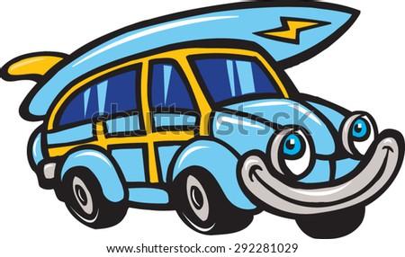 happy car - stock vector