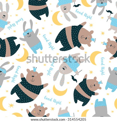 Happy Card, Pajama, party. Sweet seamless pattern with cute animals background. - stock vector