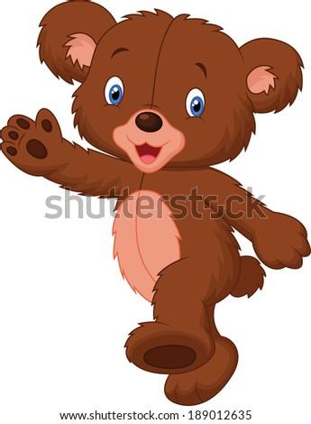 Happy cartoon baby bear  - stock vector