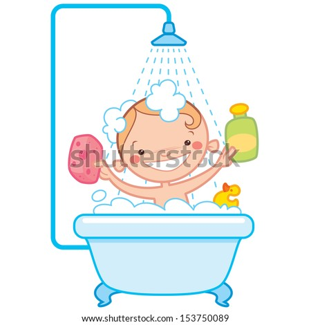 Happy cartoon baby kid having bath in a bathtub holding shampoo bottle, scrubber and rubber duck toy - stock vector