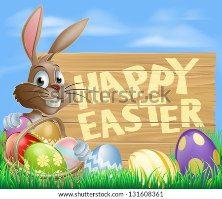Happy cartoon Bunny character with Easter Eggs and hamper and wooden Happy Easter sign - stock vector