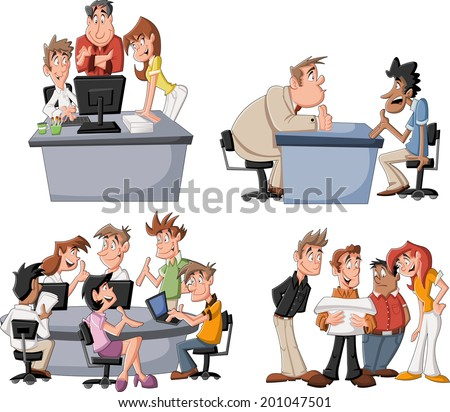 Happy cartoon business people working on office - stock vector