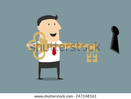 Happy cartoon businessman standing in front of keyhole with huge golden key of success, flat style - stock vector