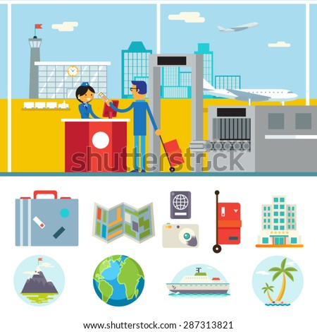 Happy Cartoon Businessman Stewardess Character Travel Lifestyle Concept of Planning Vacation Tourism and Journey Symbol Airport City Background Flat Design Icon Template Vector Illustration - stock vector