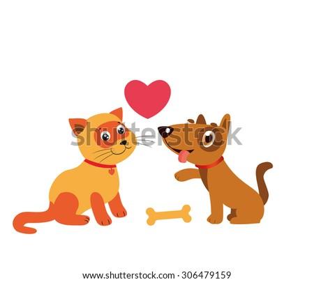 Happy Cartoon Cat And Dog Friendship Vector. Cartoon Vector Illustration Of Best Friends.  - stock vector