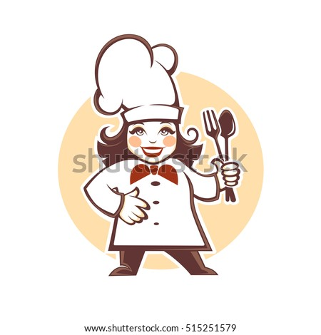 happy cartoon chef, vector illustration  for your logo design
