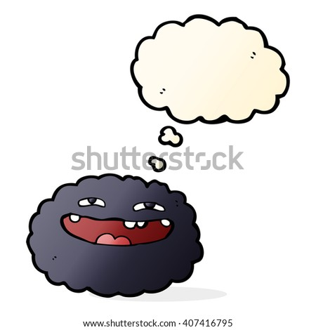 happy cartoon cloud with thought bubble - stock vector