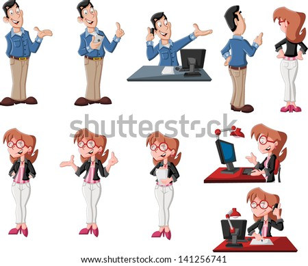 Happy cartoon couple in different poses working on computer - stock vector