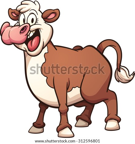 Happy cartoon cow. Vector clip art illustration with simple gradients. All in a single layer. - stock vector