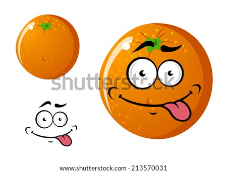 Happy cartoon cute smiling orange fruit character isolated on white background - stock vector