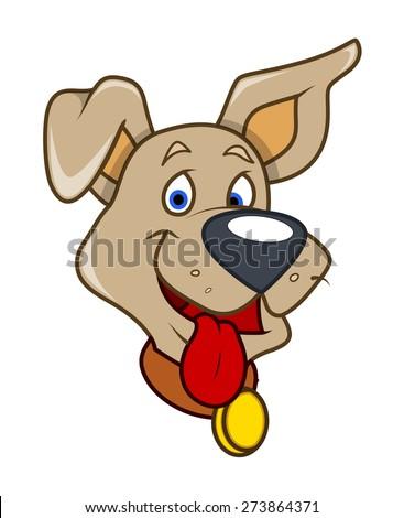 Happy Cartoon Dog Face Expression - stock vector