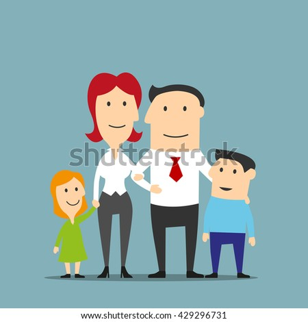 Happy cartoon family business couple are posing with two cute kids. Family portrait of smiling father and mother, little daughter and son. Family, love, parenthood and marriage themes design usage - stock vector