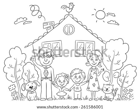 Happy cartoon family with two children and pets near their house with a garden, black and white  - stock vector