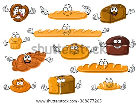 Happy cartoon fresh bakery and pastry products with french baguette and croissant, long loaves, wheaten, rye and whole grain bread, cupcake, cinnamon roll, salted pretzel and plaited poppy seed bun - stock vector