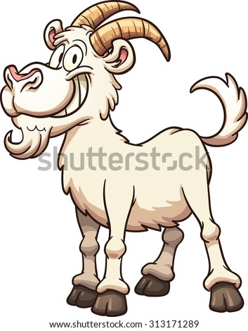 Happy cartoon goat. Vector clip art illustration with simple gradients, all in a single layer.  - stock vector