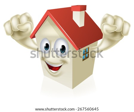Happy Cartoon House Mascot character holding up fists in joy - stock vector