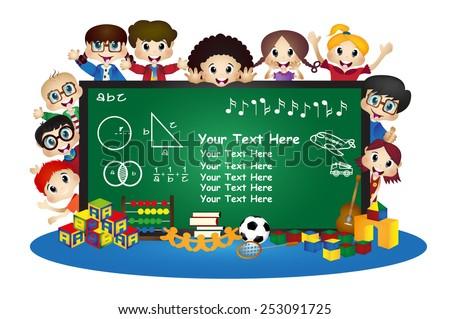 happy cartoon kids in school behind chalkboard Vector illustration - stock vector