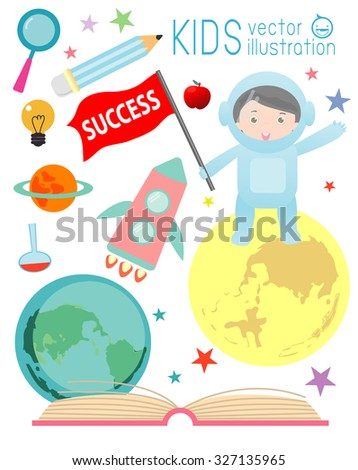 happy cartoon kids on space with rocket education , spaceman, education concept, back to school template with kids, Kids go to school, back to school, Cute cartoon children, icons, Vector Illustration