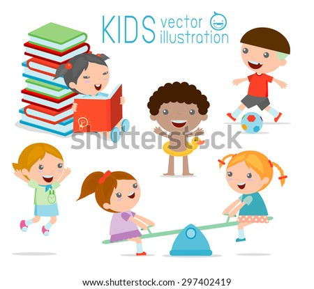 happy cartoon kids playing, Kids playing  on white background ,  Vector illustration - stock vector