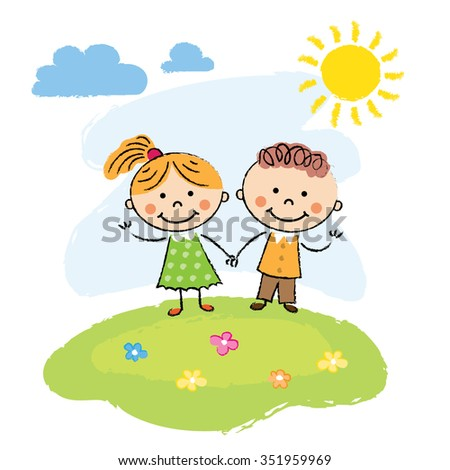 Happy cartoon kids running outdoors on a summer day - stock vector