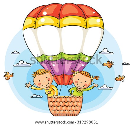 Happy cartoon kids traveling by air with copy space across the balloon - stock vector