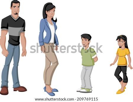 Happy cartoon latin family. Spanish people.  - stock vector