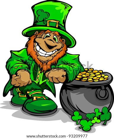 Happy Cartoon Leprechaun on St Patricks Day Holiday Leaning of  a Pot of Gold Vector Illustration