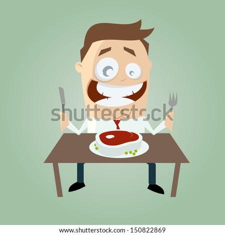 happy cartoon man with big steak - stock vector
