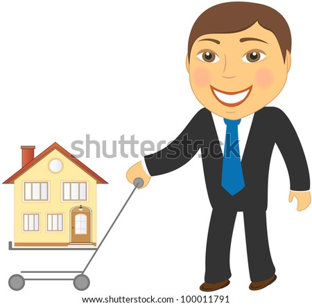 happy cartoon man with shopping cart and house - stock vector